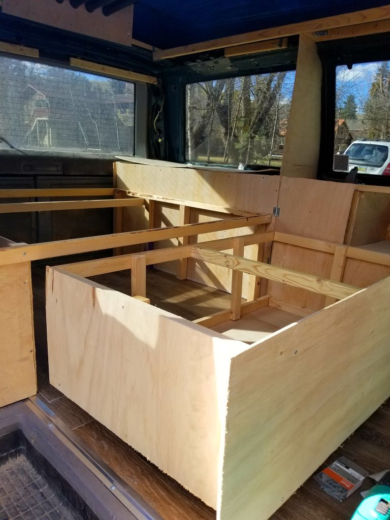 campervan bed and couch