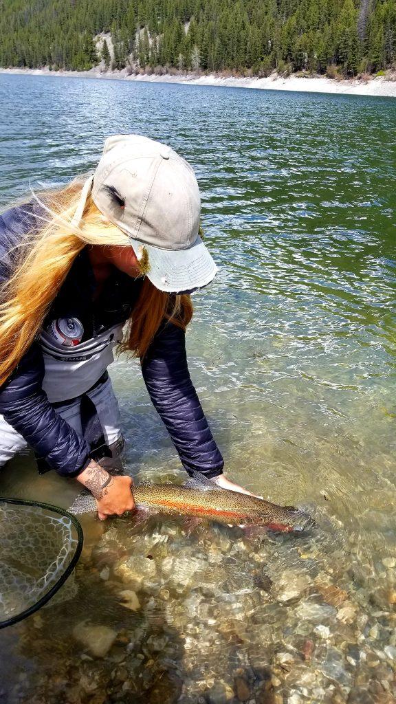 female fly fishing